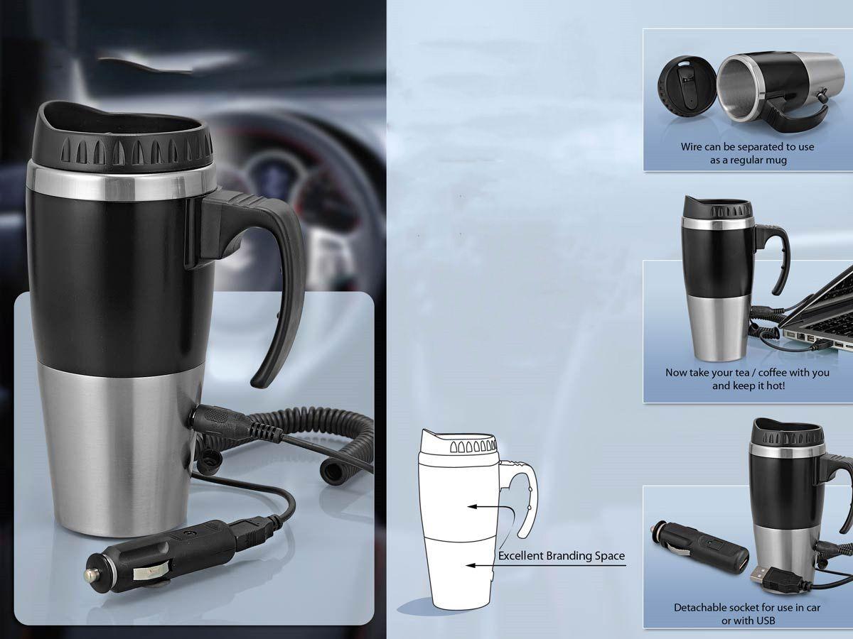Power Plus Car Heater Mug: With Car / Usb Charger (500Ml) H97 Black