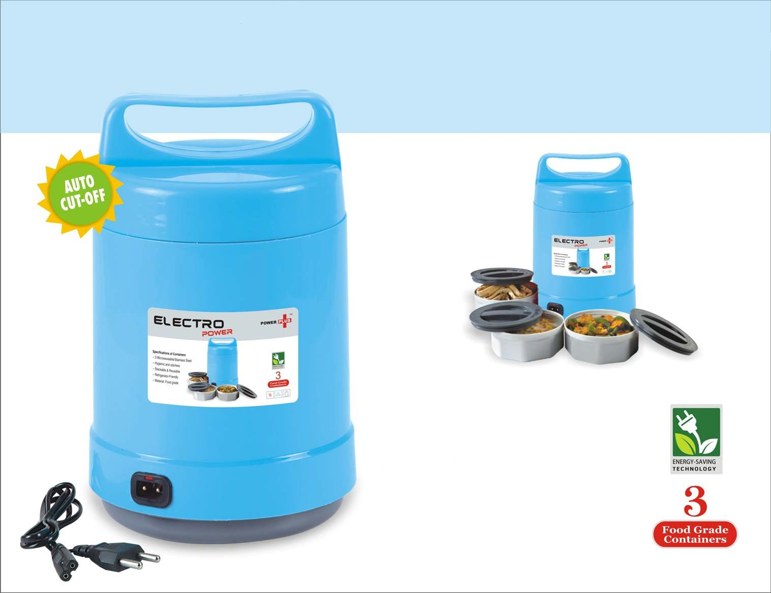 Power Plus Electro Power: Electric Lunch Box With Auto-Cut Function H103 Blue
