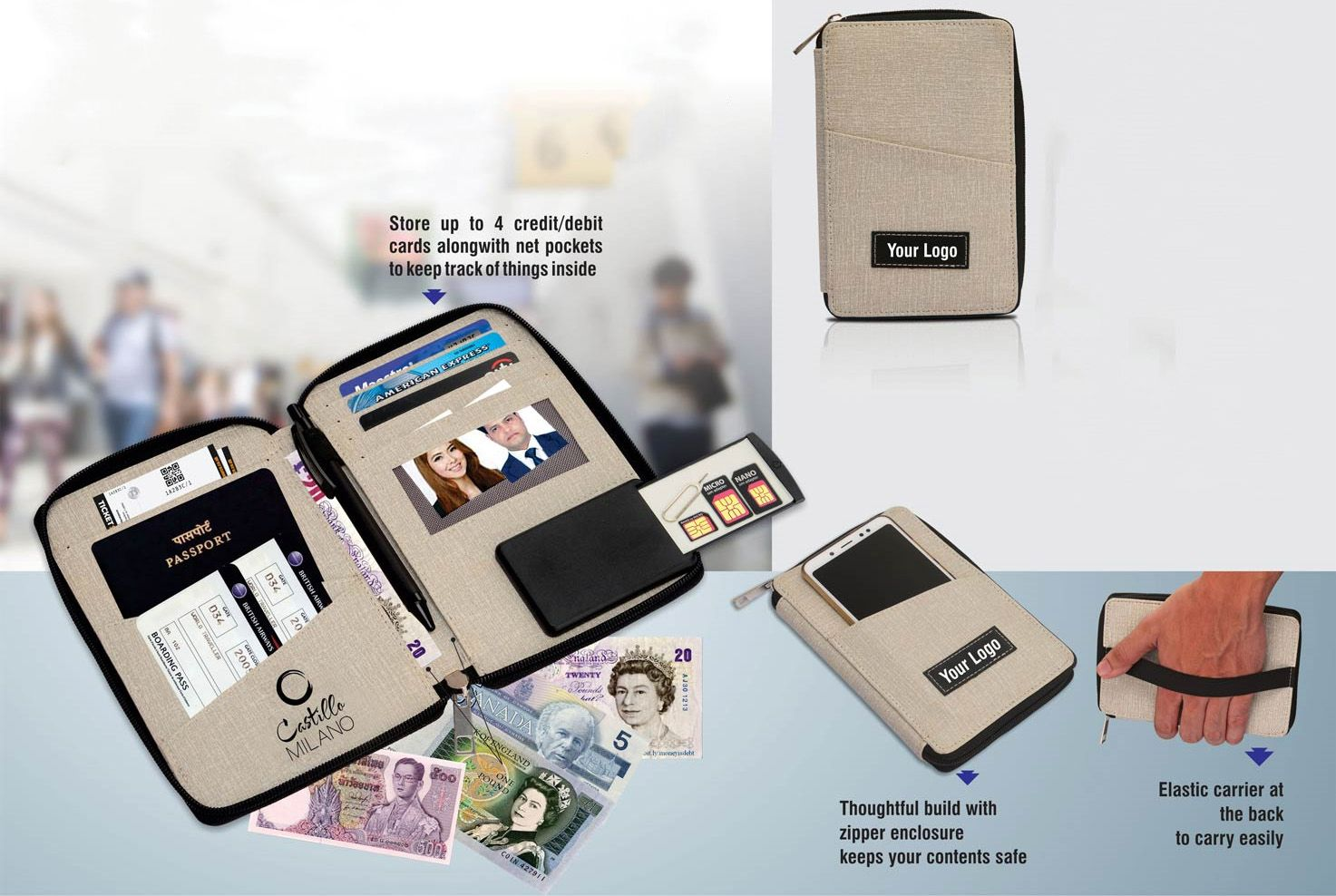Power Plus Feather Touch All In 1 Passport Holder (M) (With Pen) S01 Grey