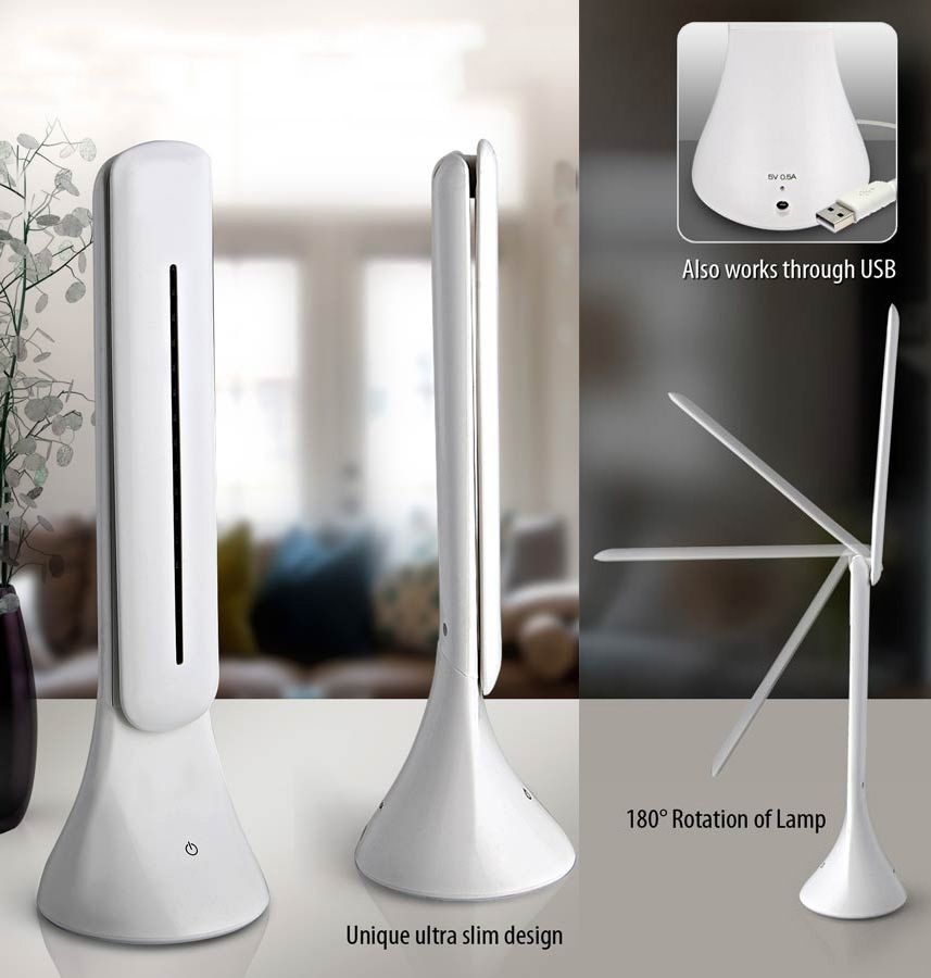 Power Plus Folding Cob Desk Lamp With Feather Touch Button E177 White