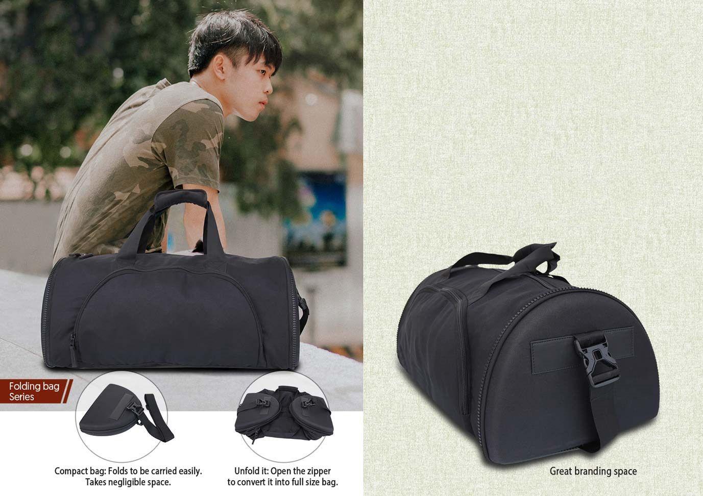 Power Plus Folding Duffel Bag (D Shape) (Cabin Size Compliant) By Castillo Milano S05 Black