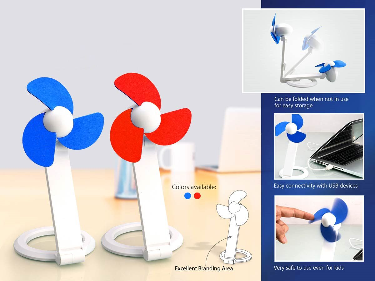 Power Plus Folding Table Usb Fan With Safety Blades And Usb Cable C37