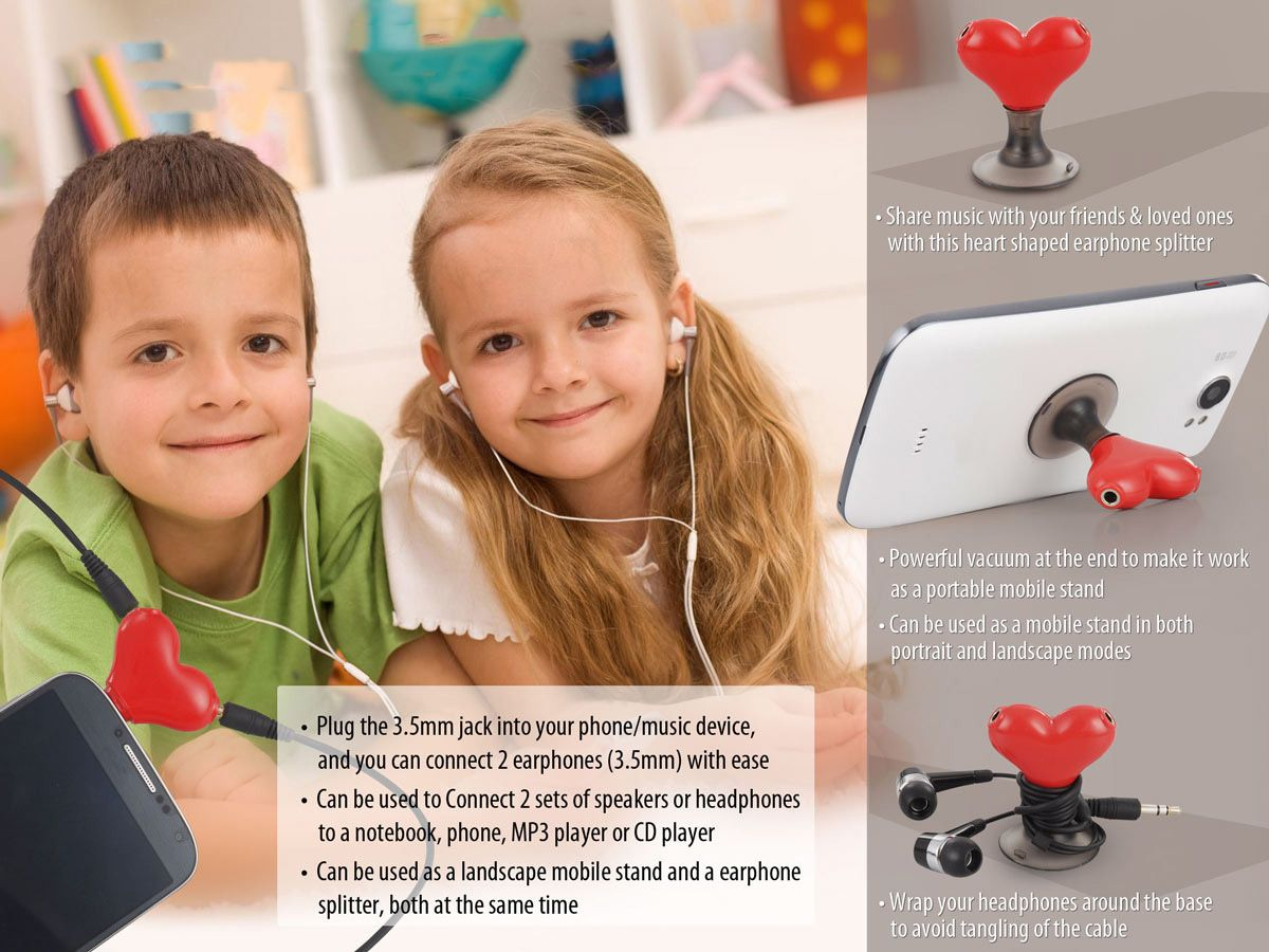 Power Plus Heart Shape Vacuum Mobile Stand With Earphone Splitter E97 Red