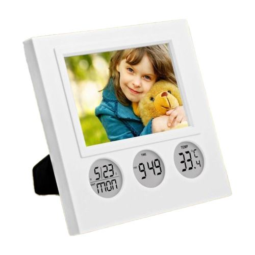 Power Plus Bubble Clock With Photo Frame A101 White