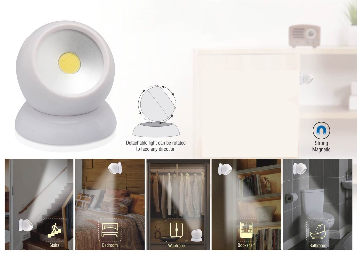 Power Plus Magnetic 720 Degree Work Light With 3 Light Modes (With Detachable Magnetic Stand) E208 White