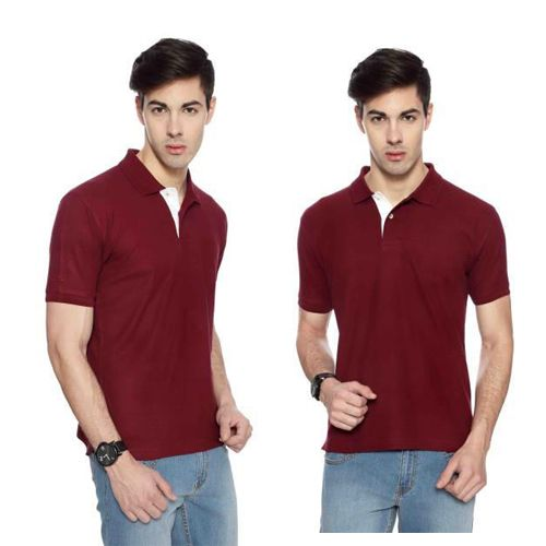 IZOD Men Maroon with White Placket Collared T-shirt-XXL