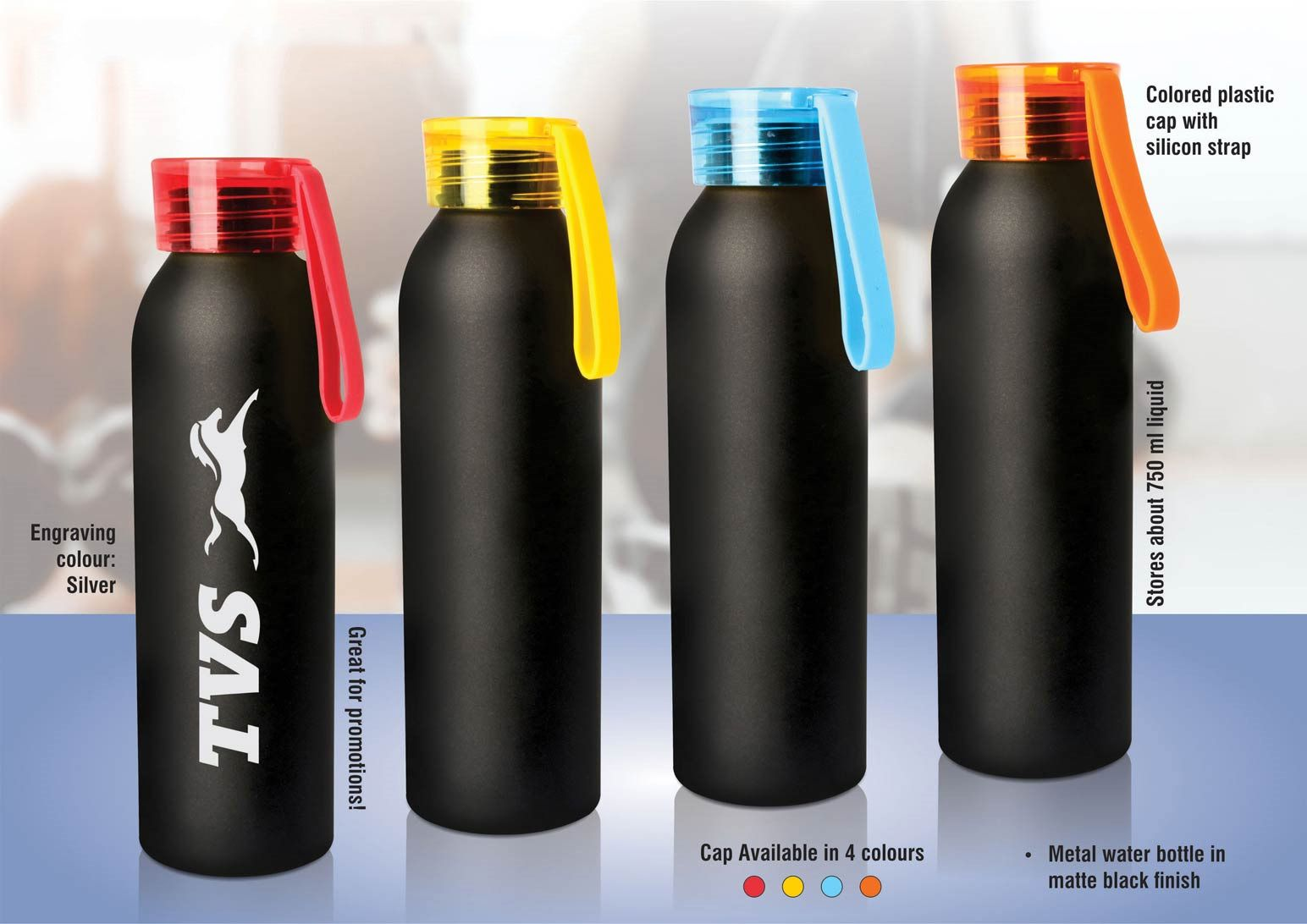 Power Plus Metal Water Bottle With Black Body (750 Ml Approx) H162