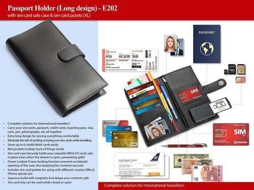 Power Plus Passport Holder With Sim Card Safe Case & Sim Card Jackets (Xl) (Long Design) E202 Black