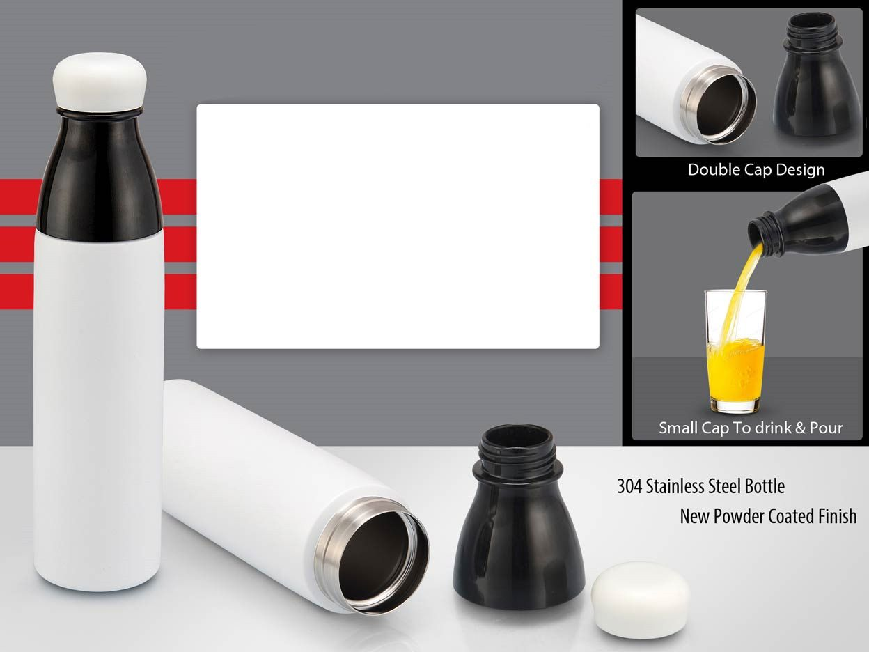 Power Plus Pearl Double Cap Vacuum Bottle In Powder Coated Finish (750Ml) H140 White