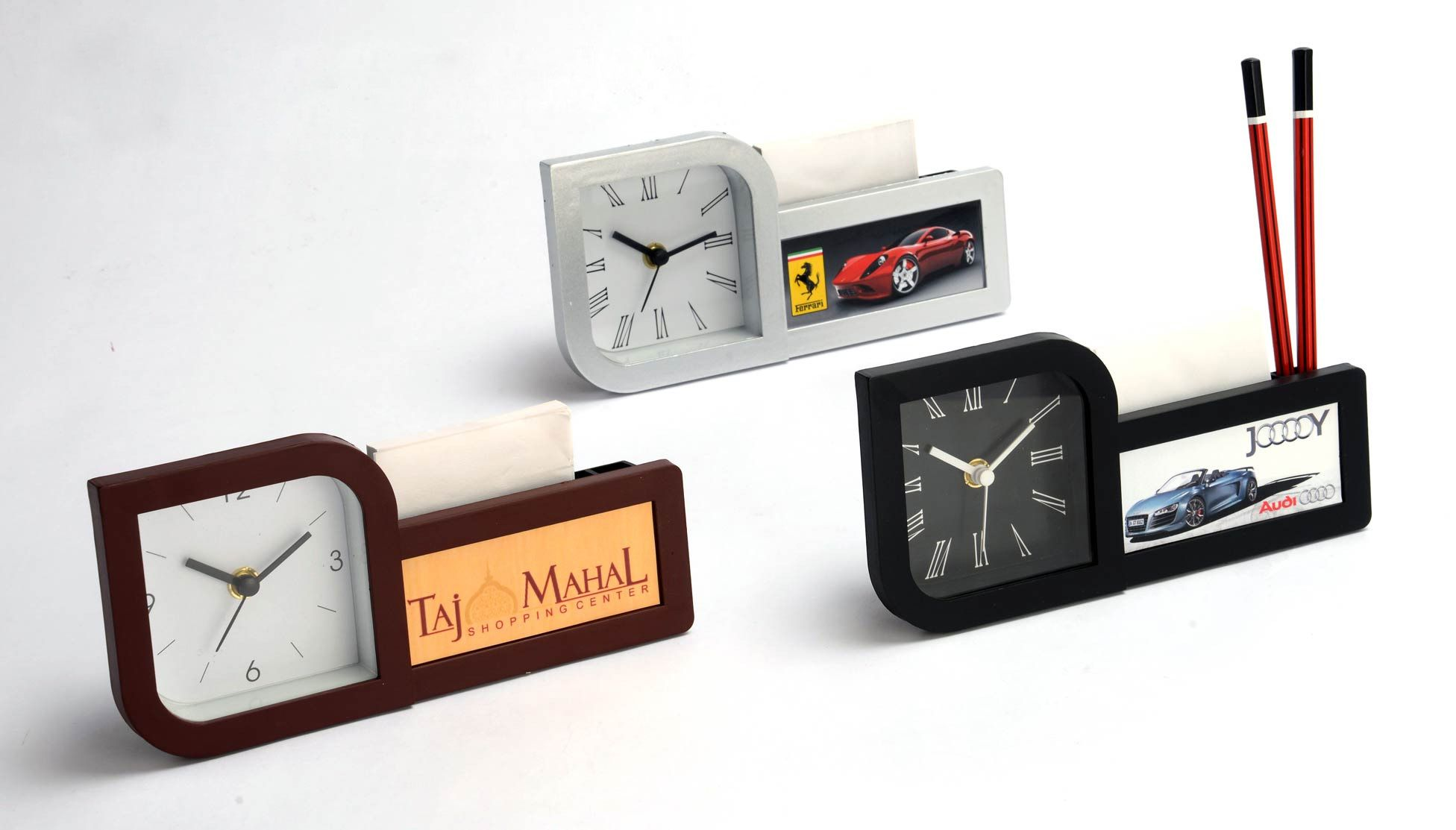 Power Plus Clock With Pad And Pen Holder (With Writing Pad) (Branding Included) (Moq: 200 Pcs) A116