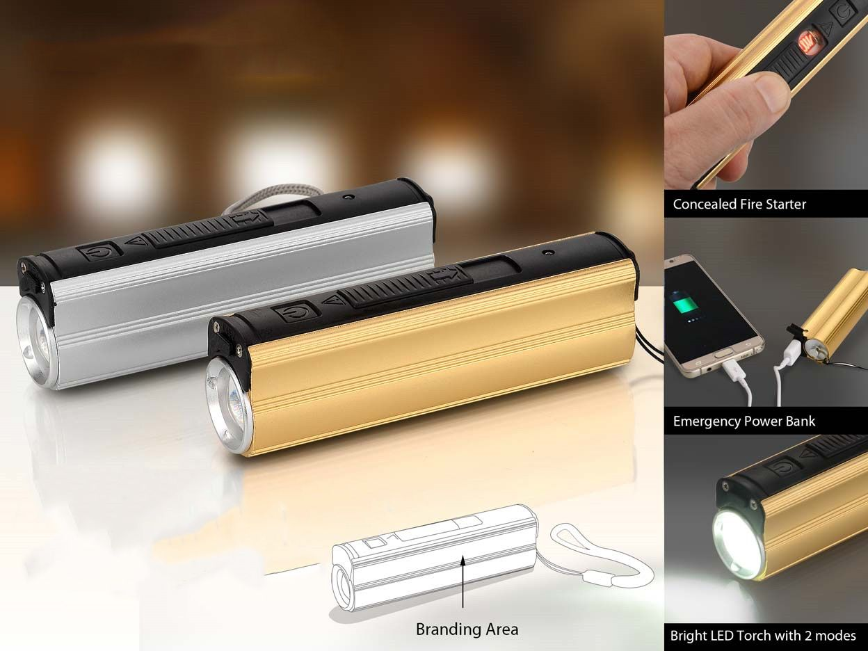 Power Plus Metal Power Bank With Lighter, Two Level Torch And Blinker C51