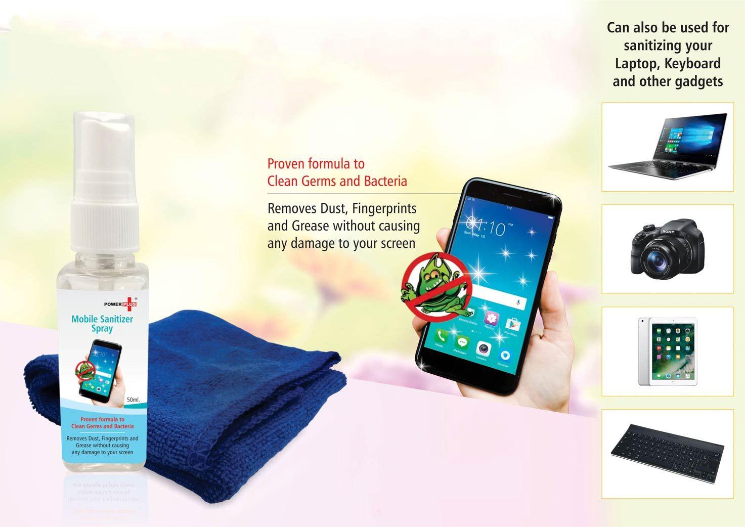 Power Plus Power Plus Mobile Sanitizer Kit (Set Of 50Ml Liquid And Microfibre Cloth) E218 NA
