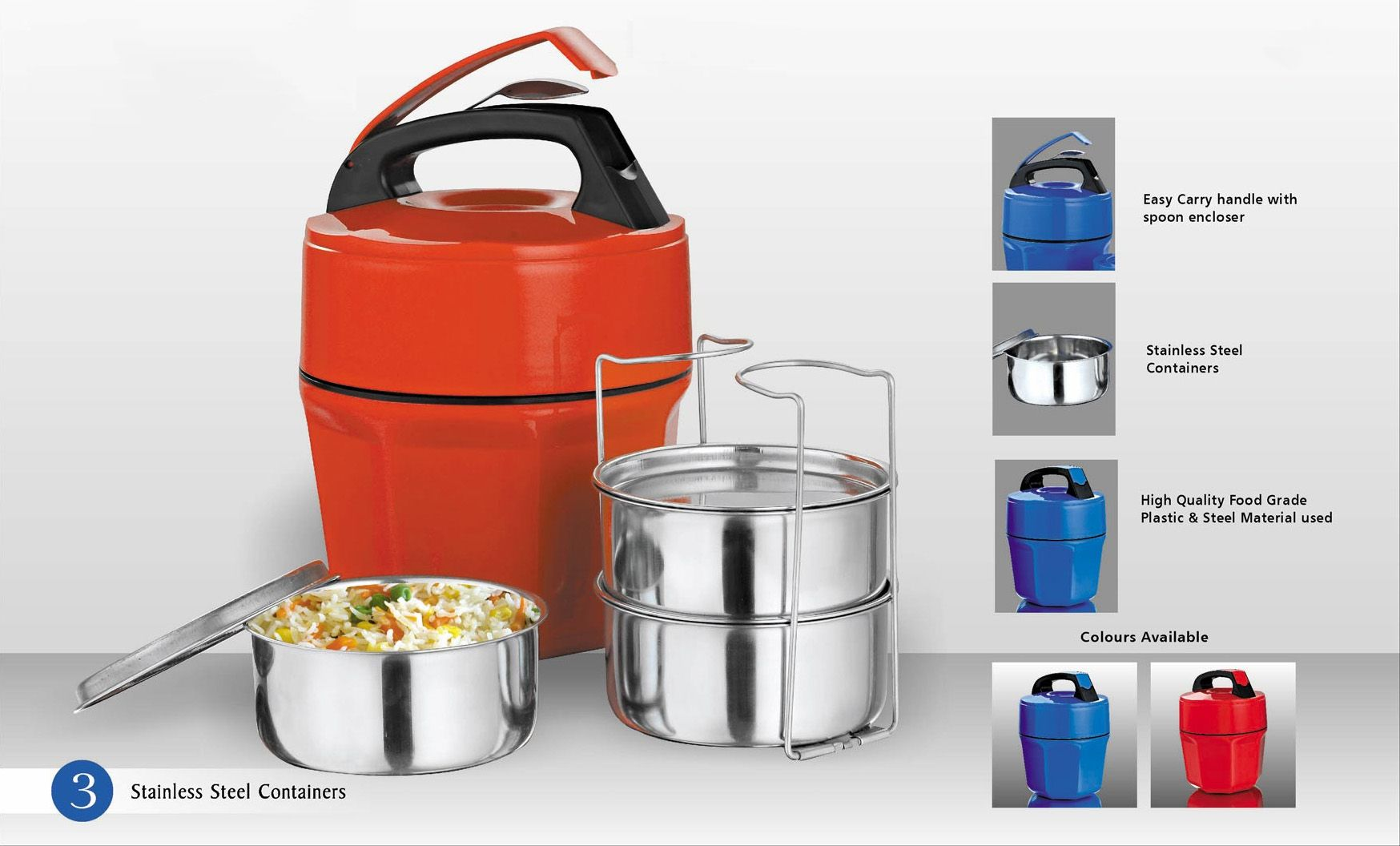 Power Plus Octomeal Lunch Box - 3 Containers (Steel) H87
