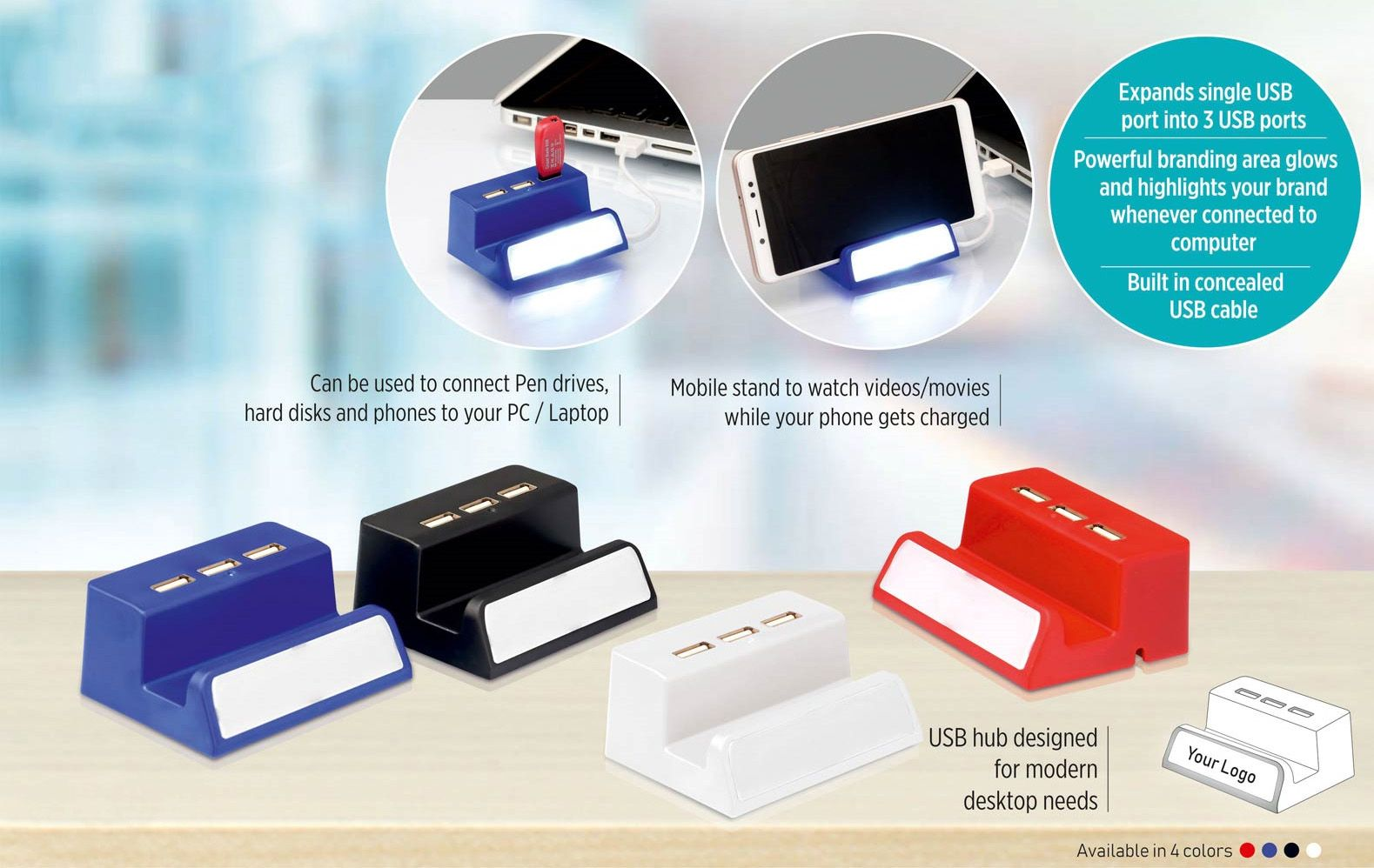 Power Plus Powerglow 3 Usb Hub With Mobile Stand And Logo Highlight (Top Usb) C85