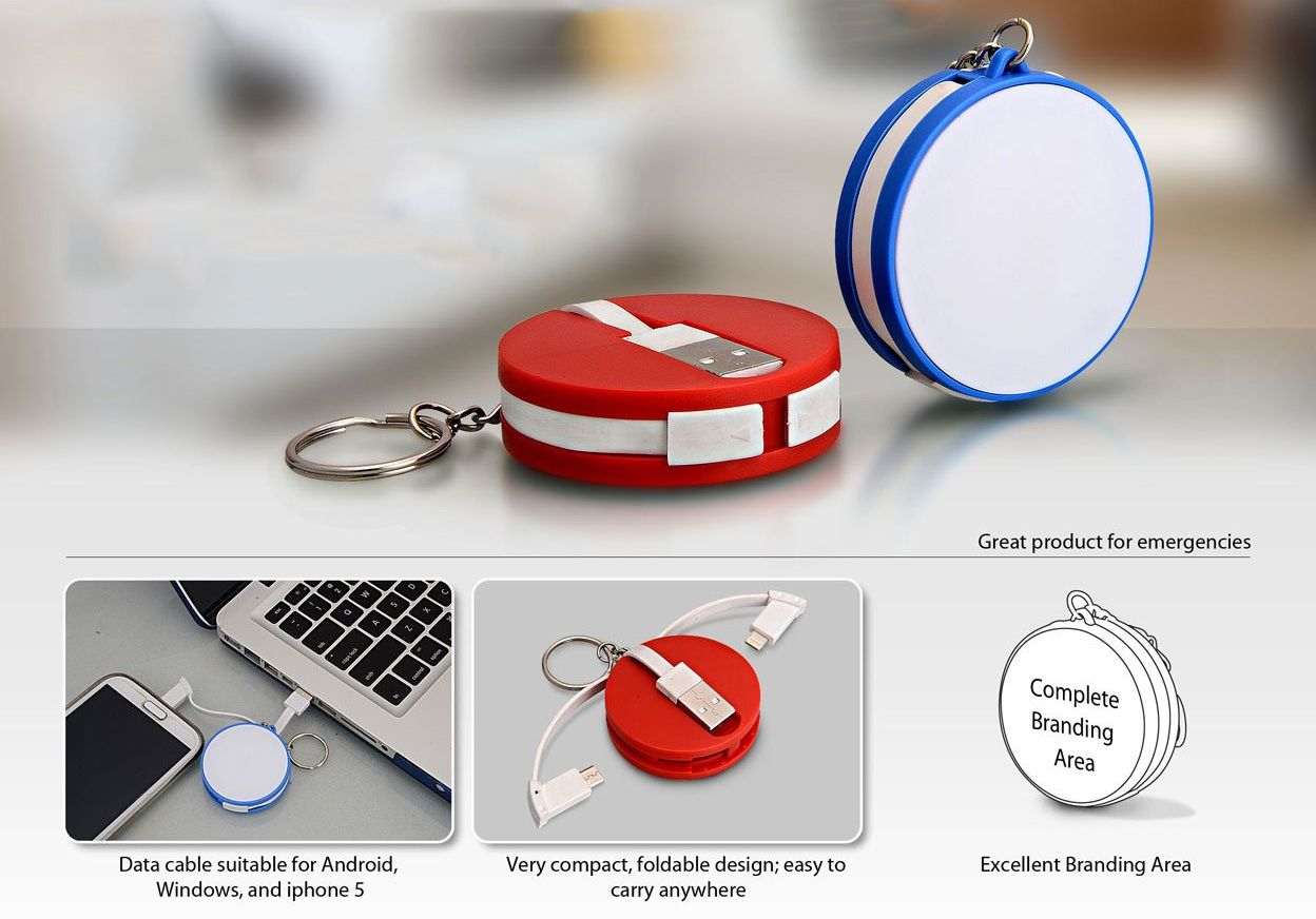 Power Plus Round Data Cable With Keyring (For Android / Windows / Iphone) C29