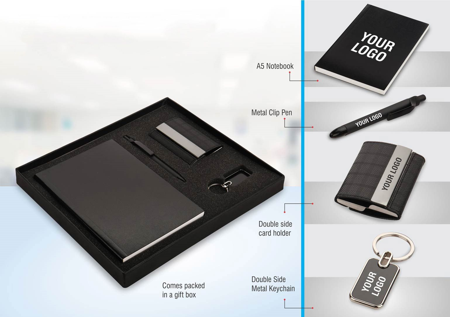 Power Plus Set Of 4: Double Side Visiting Card Holder With A5 Notebook, Double Side Metal Keychain And Metal Clip Pen In Gift Box Q33 Black