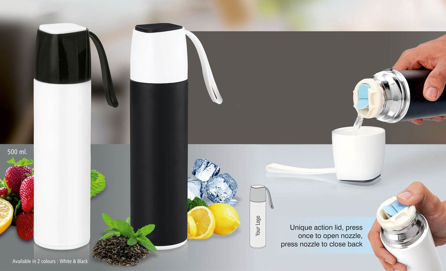Power Plus Slick Stainless Steel Vacuum Flask With Silicon Strap (500 Ml) H141