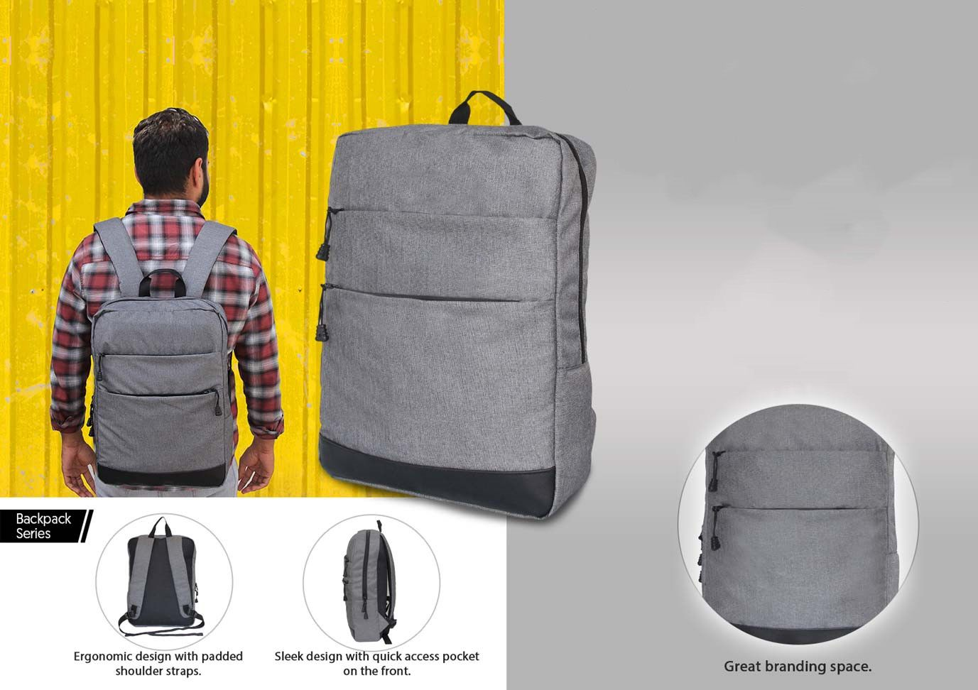 Power Plus Slimz Grey Backpack With Double Front Pocket By Castillo Milano S07 Grey