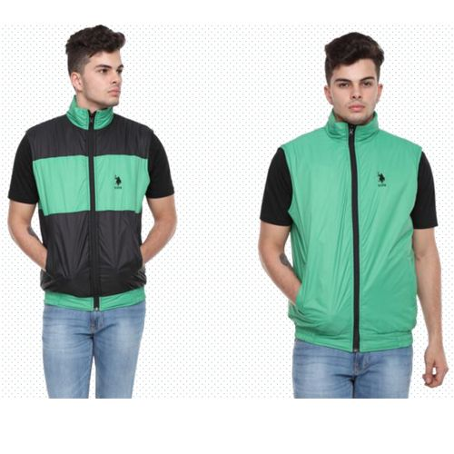 U.S. Polo Assn. Reversible Sleeveless Jacket - Mint Green And Black(Xl)