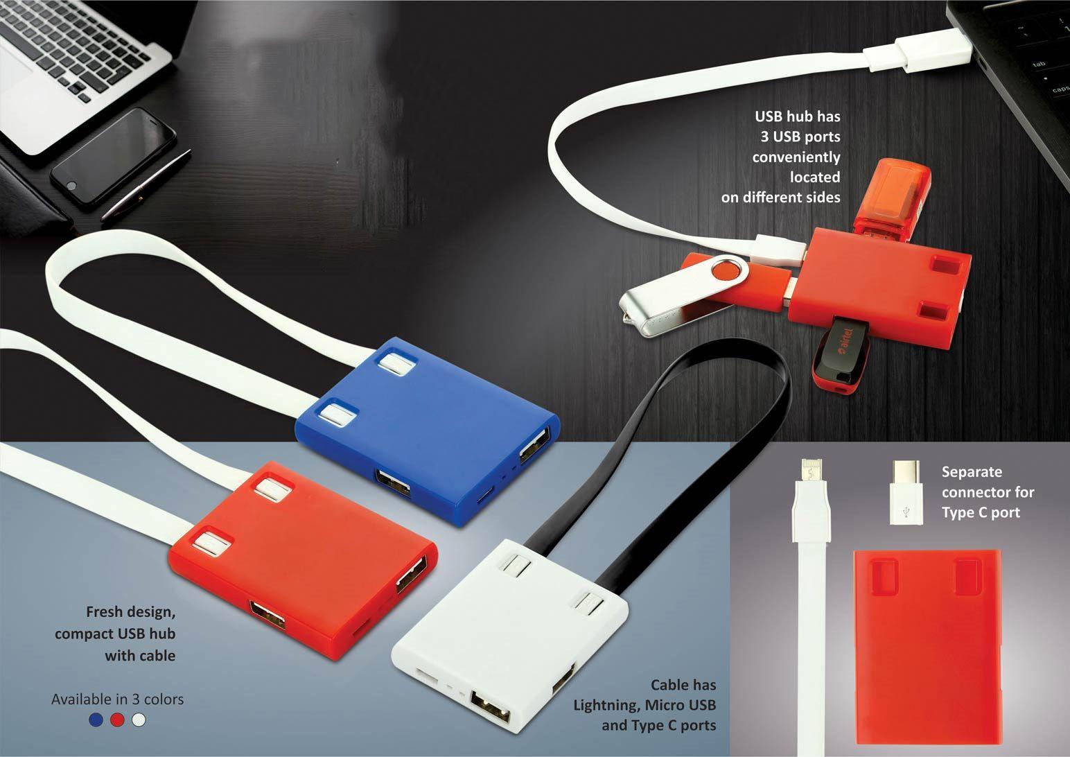 Power Plus Usb Hub With Detachable Cable (Ios, Micro, Type C) | 3 Usb Ports C101