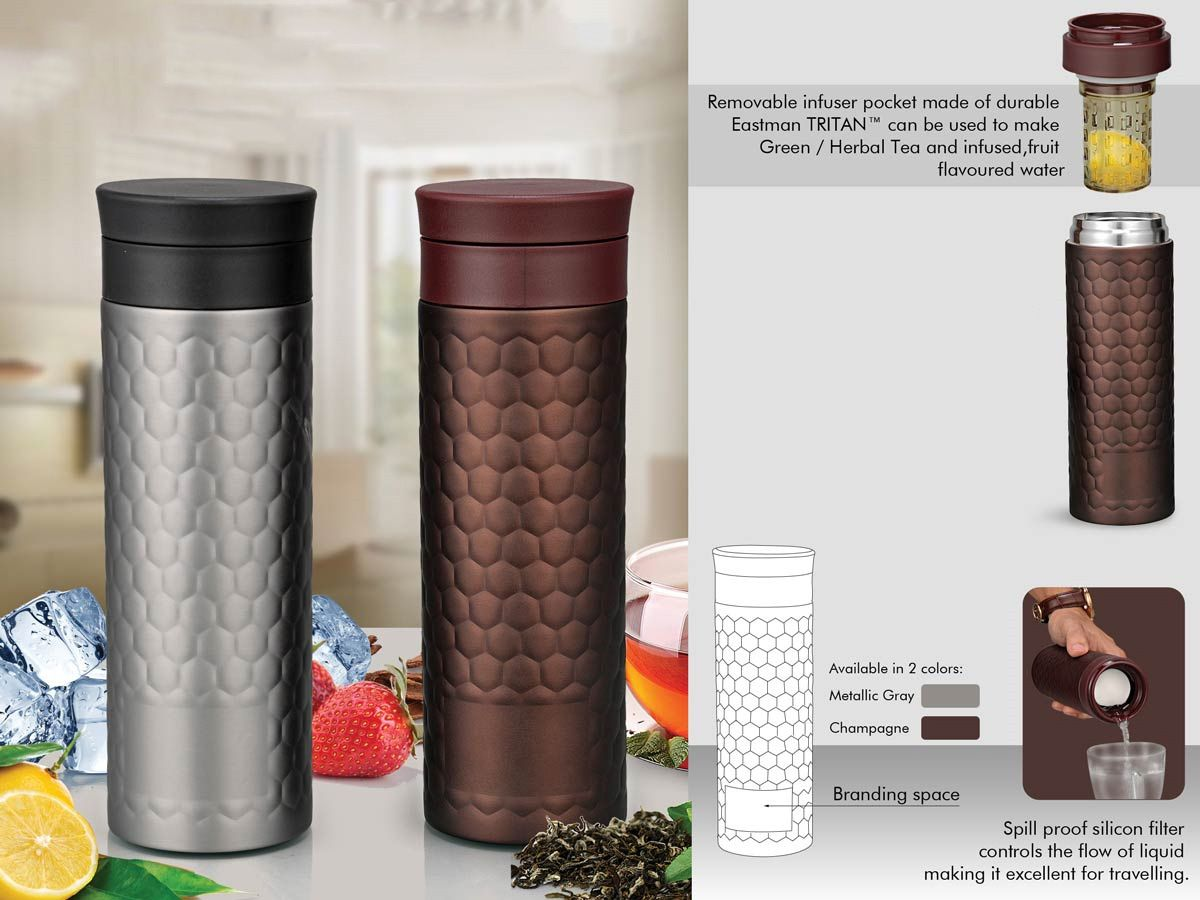 Power Plus Vacuumized Tea/ Fruit Infuser Ss Sipper In Honeycomb Design (550 Ml) H98
