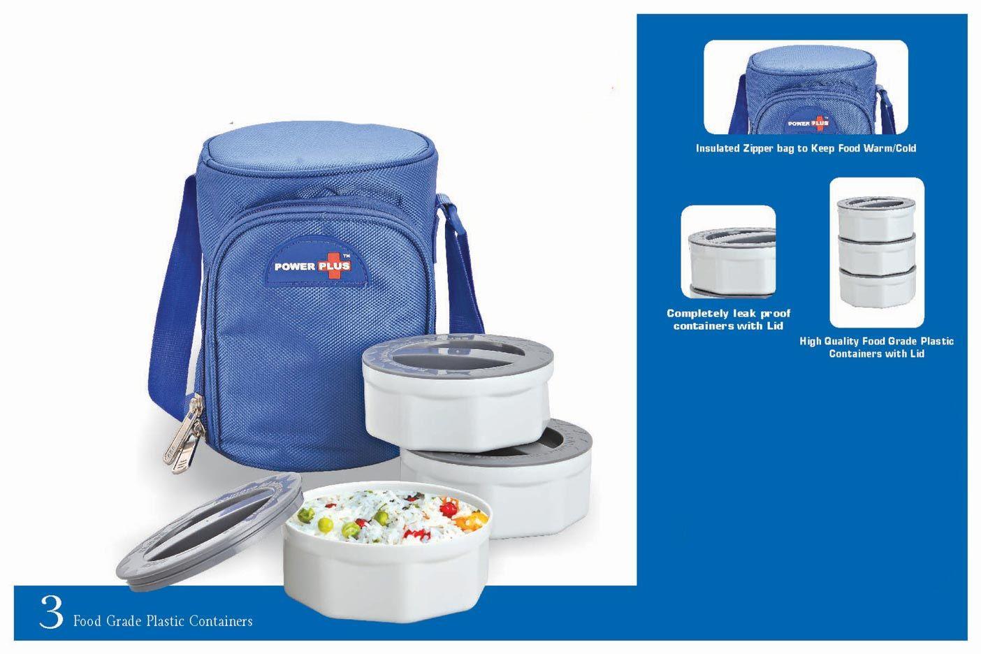 Power Plus Zippy Lunch Bag- 3 Containers (Plastic) H70 Blue